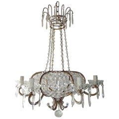 French Beaded Crystal Basket with Spear Chandelier