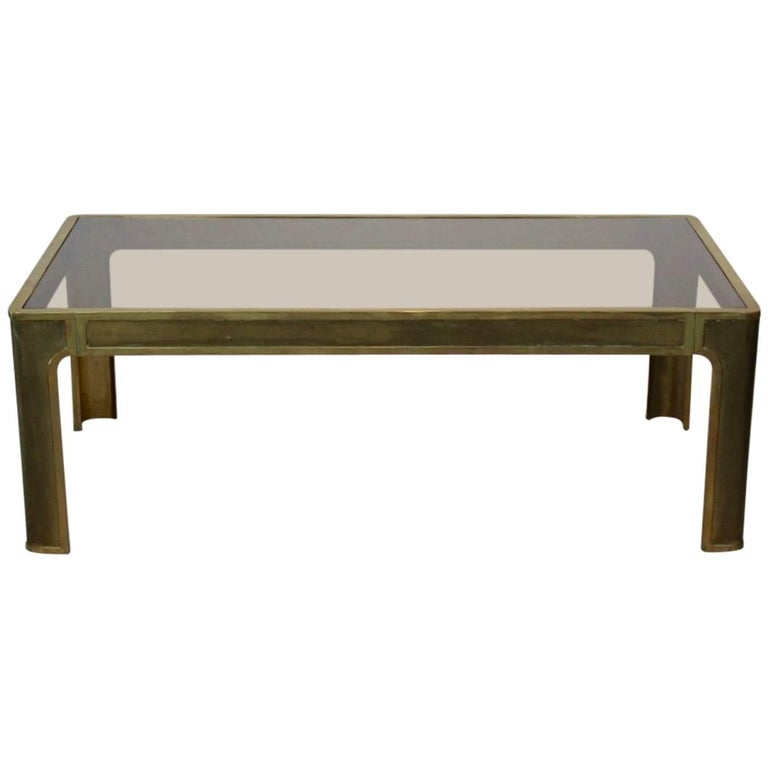 Sophisticated Brass and Glass Coffee Table, 1970s