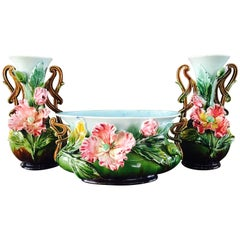 Set of 19th Century French Hand-Painted Barbotine Vases with Flowers