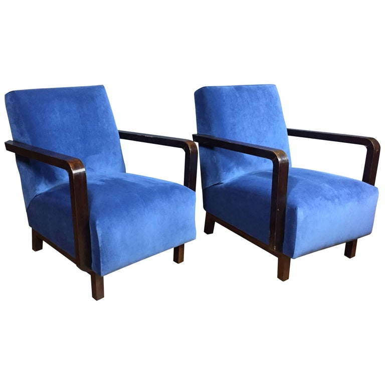 Pair of Danish, 1940s Armchairs with Navy Velvet Covers