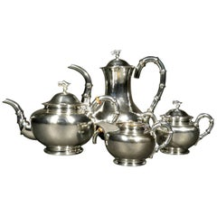 Fine Chinese Export Silver Four Piece Tea & Coffee Set by Hung Chong, Circa 1900