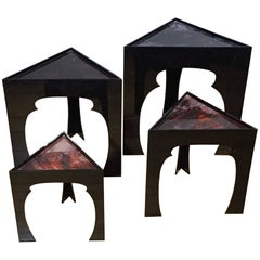 Set of Four Nesting Table, Faux Tortois Shell Tops, USA, 1970s