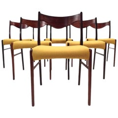 Danish Set of Six Rosewood and Yellow Wool Dining Chairs