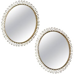 Pair of Round Wall Mirrors, Josef Frank Svenskt Tenn Sweden Brass Sunburst 1950s