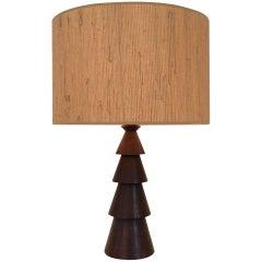 Large Wood Table Lamp, France, circa 1940