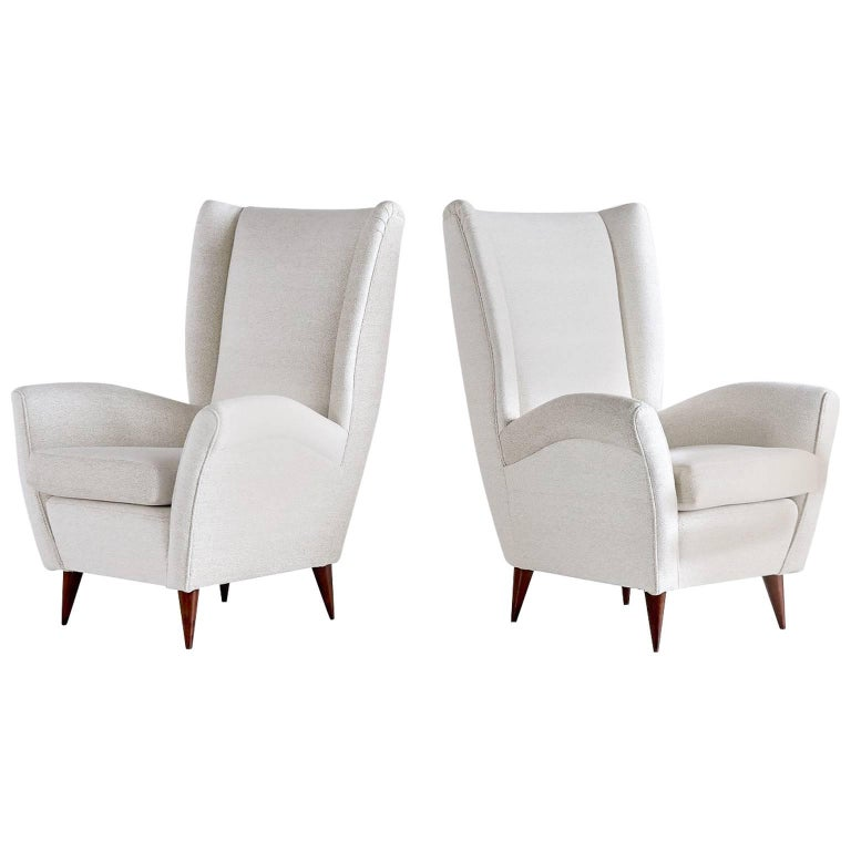 Gio Ponti Pair of High Back Armchairs, Late 1940s