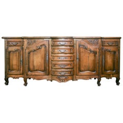 19th Century Antique French Louis XV Style Solid Oak Buffet, circa 1870