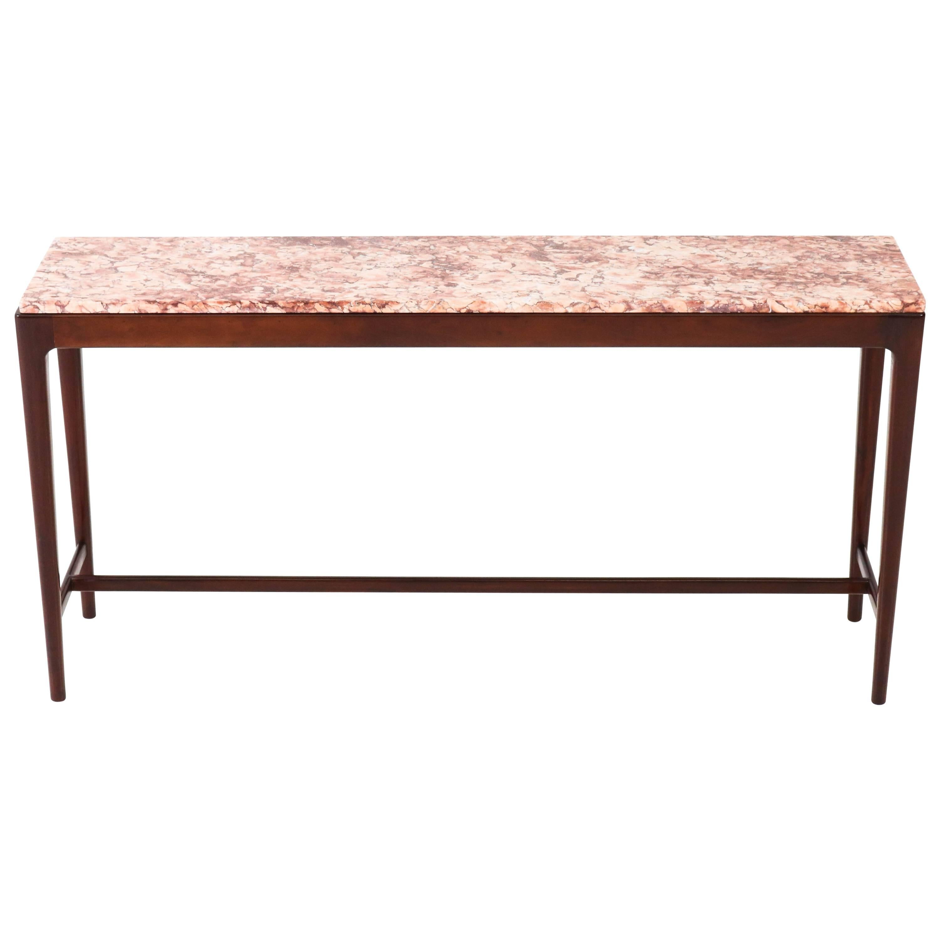 Mid Century Modern Danish Mahogany Console Table With Marble Top, 1960s 1