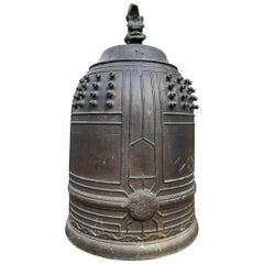 Japanese Old Hand Cast Bronze Temple Bell