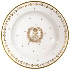 Sevres Crested Porcelain Soup Plate, Louis Philippe I, Château de Compiègne