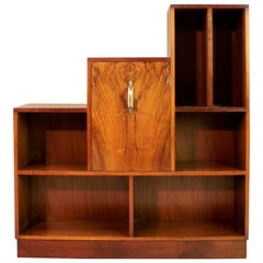 Art Deco English Walnut Bookcase Display Cabinet by E Gomme, Dated 1936