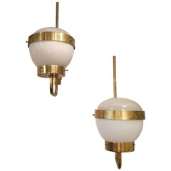 Three White Opaline Glass and Brass Sconces by Sergio Mazza, 1950