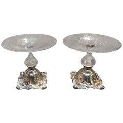 Pair of Sterling and Glass Compote Tazzas, 19th Century