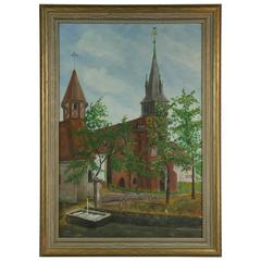 French Village Square Painting