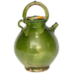 Large Green French Crockery Vase with Handles