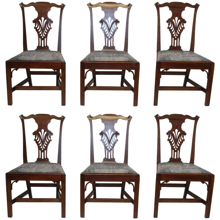 Set of Six Chippendale Style Walnut Dining Chairs circa 1800 1