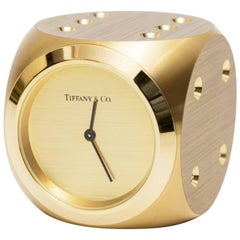 Tiffany Doré Bronze Dice Clock Paperweight