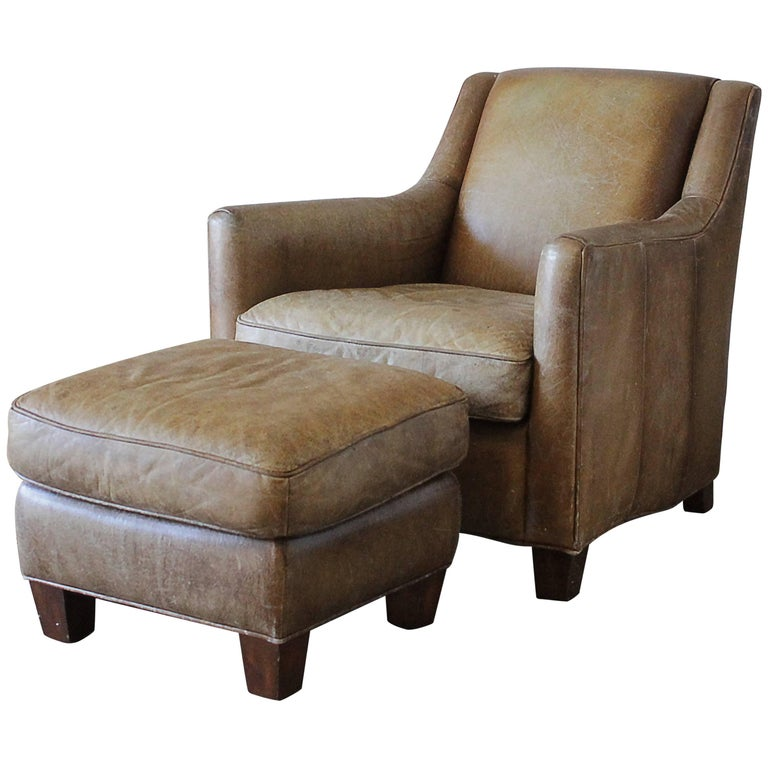 vintage leather club chair and ottoman for sale at 1stdibs. Black Bedroom Furniture Sets. Home Design Ideas