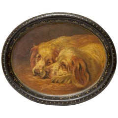 English Papier Mâché Tray with Painting of Two Dogs