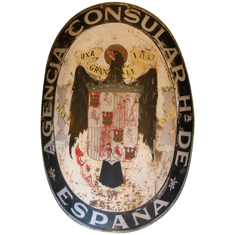Spanish Consulate Embassy Sign with Royal Eagle, 1910-1930