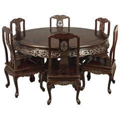 Traditional Oriental Rosewood Dining Table And Set Of Six Chairs Carved Suite