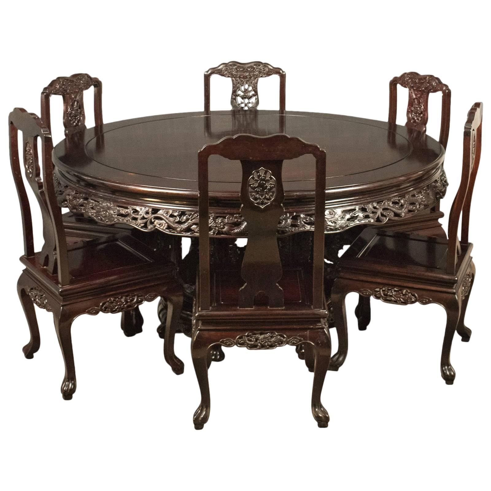 Traditional Oriental Rosewood Dining Table And Set Of Six Chairs, Carved  Suite