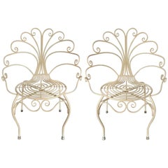 Pair of 1940s French Iron Chairs, Manner of Gilbert Poillerat