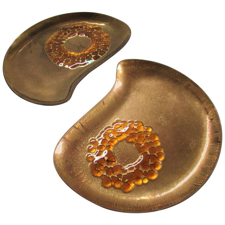 Sascha Brastoff Gilded Enamel Amoeba Form Plates