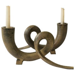 Pair '80s Metal Animal Rams Horn Sculptures or Candlestick Holders