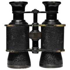 Prism Paris French Leather Wrapped Brass Binoculars, circa 1920-1940