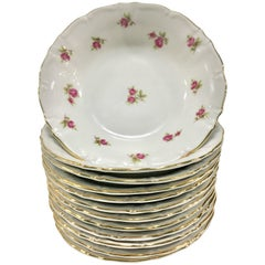 """20th Century German Porcelain Fruit Bowls """"Moss Rose"""" by Winterling, S/12"""