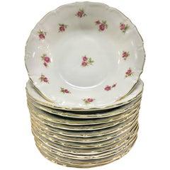 """Vintage German Porcelain Fruit Bowls """"Moss Rose"""" by Winterling, Set of 12"""
