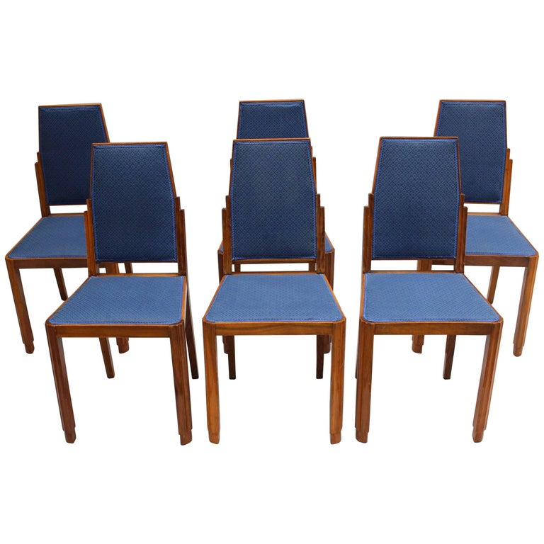Set of Six French Art Deco Walnut Dining Chairs