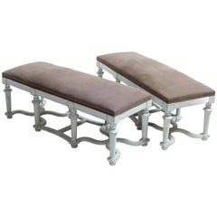 Pair of Light Blue/Green Painted Benches with Grey Cushions