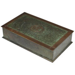 Antique Art Deco Patinated Copper and Brass Trophy Box, circa 1936