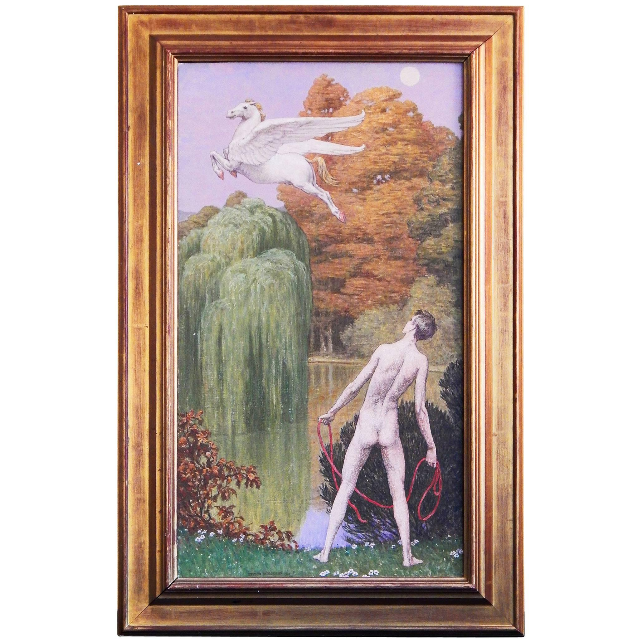 """""""Bellerophon and Pegasus"""" Striking Art Deco Painting with Male Nude Mythological"""