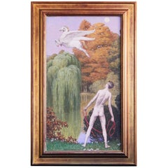 """Bellerophon and Pegasus"" Striking Art Deco Painting with Male Nude Mythological"