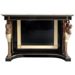 Carved Wood and Marble Empire Revival Console Table, Manner of Maison Jansen