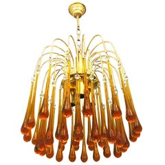 Paolo Venini chandelier murano Glass orange drops gold brass frame  ,1960