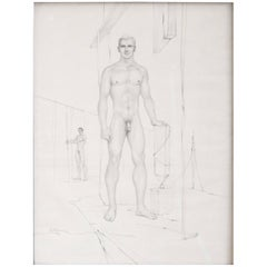 """Two Male Nudes,"" Early and Unusual Midcentury Drawing by John Lear"