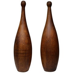 Early 20th Century Wooden Juggling Pins, a Pair