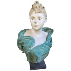Luca Madrassi 1848-1919 Polychrome Terracotta, Signed and in Hollow Stamped
