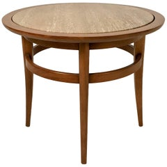 Sleek Circular Drexel Meridian Pecan and Italian Travertine End Table or Stand