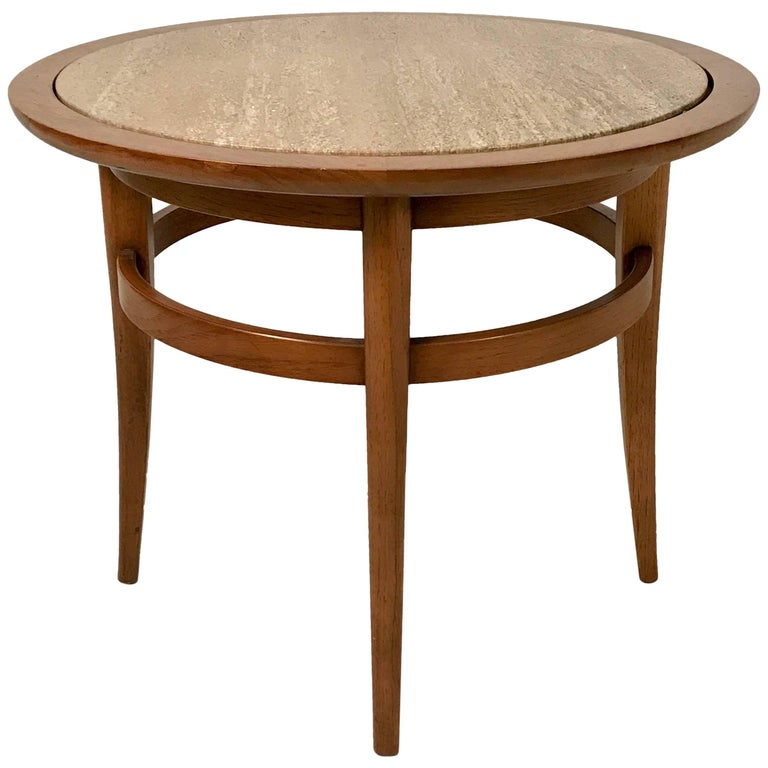 Drexel Meridian Pecan and Italian Travertine Lamp or End Table For Sale
