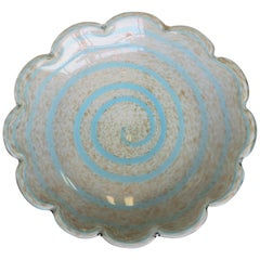 Vintage Midcentury Italian Murano Blue White and Copper Art Glass Bowl, Italy