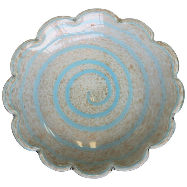 Midcentury Italian Murano Blue White and Copper Art Glass Bowl