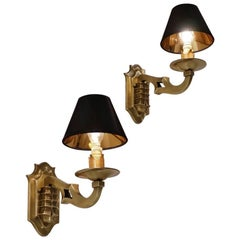 Maison Baguès Wall Lights Bronze in the Chinoiserie Style, circa 1970s, French