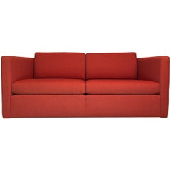 Charles Pfister for Knoll Two-Seat Sofa Settee or Loveseat with Crimson Boucle
