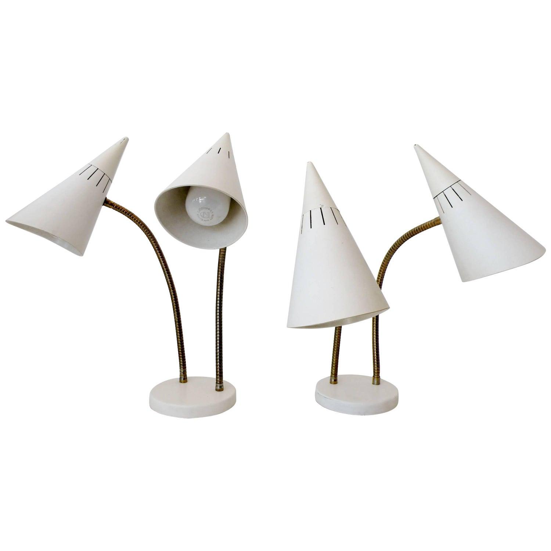 Lightolier Gerald Thurston Double Cone Gooseneck Table Desk Lamps