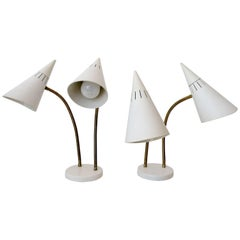 Lightolier Gerald Thurston Double Cone Gooseneck Table Desk Lamps